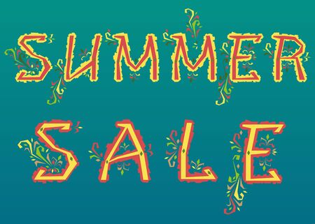 delicate: Inscription Summer Sale. Delicate letters with floral pattern. Illustration