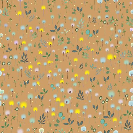blossoming: Blossoming Field Seamless Pattern Illustration