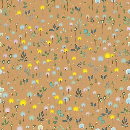 hayfield: Blossoming Field Seamless Pattern Illustration