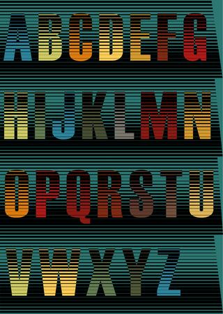 spectral: Striped spectral font. Vintage style Illustration