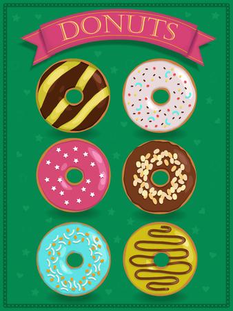 glaze: Set of sweet donuts. Vintage food. illustration.