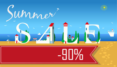 ninety: Inscription for retail. Smmer Sale. Ninety percents. Cute white houses on the coast. Plane in the sky. Banner for custom text. Vector illustration