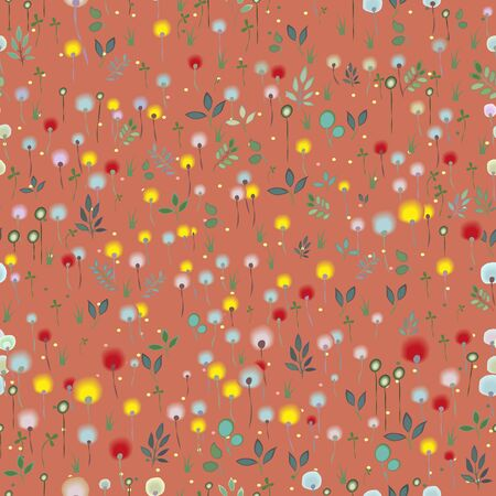 blossoming: Blossoming Field. Floral Seamless Pattern. Watercolor flowers and plants with red background. Vector illustration Illustration