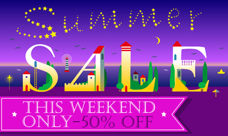 custom letters: Summer Sale Inscription for retail. Cute houses on the night beach. Artistic font. Stars in the sky. Pink for custom text. Illustration Illustration