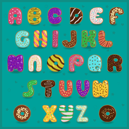 Sweet vintage font. Colorful donuts alphabet. Illustration