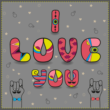 gay men: Inscription for gay men in love. I love you. Artistic font. Pink letters. Gray background. Cartoon hands looking at each other. illustration.