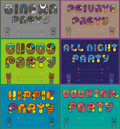 choco: Invitations to party. Vintage artistic font. Cinema party. Private party. Choco party. All night party. Hippie party. Coctail party. Place for custom text. Illustration
