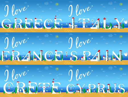 jorney: Travel cards. Artistic font. Summer beach. I love Italy. . Greece. Spain. France. Crete. Cyprus. Cute white houses on the coast. Plane in the sky. Illustration