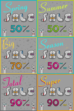 total: Cards with inscriptions for retail. Vintage font. Spring sale. Big sale. Total sale. Super sale. Gray retro letters with colorful ties. Pink numerals. Cartoon hipster hands.  illustration