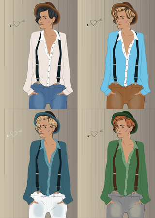 suspenders: Girls with colorful shirts and hats. Hipster look. illustration