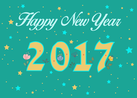 newyear card: Happy New Year 2017. Calendar template. Yellow symbols with floral decor. Celebration green background with confetti stars. Greeting card. illustration.
