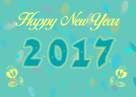 newyear card: Happy New Year 2017. Calendar template. Blue  symbols with yellow decor. Celebration background with confetti stars and watercolor blurs. Yellow roses. Greeting card. illustration.