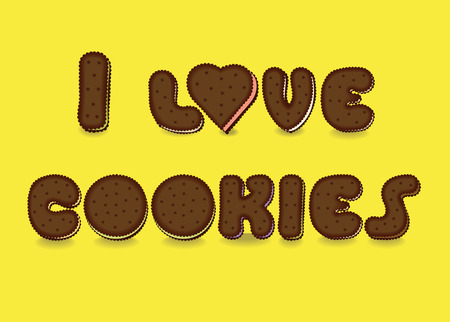 luncheon: I love cookies. Sweet artistic font. Letterc as a chocolate cookies. Yellow background. Letter O is as a heart. illustration Illustration