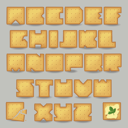 luncheon: Cracker artistic font. Unusual alphabet. Set of yellow letters, one broken cookie with crumbs, one cookie with butter and sprig of parsley. illustration