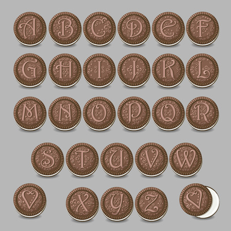 luncheon: Chocolate cookies font. Artistic sweet alphabet. Round cookies with letters and decor. illustration