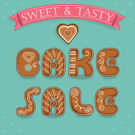 bake sale: Bake sale. Inscription by gingerbread font. Broun signs as ginger cookies. Blue background with stars and gingerbread heart. Red  text Sweet and Tasty. illustration Illustration