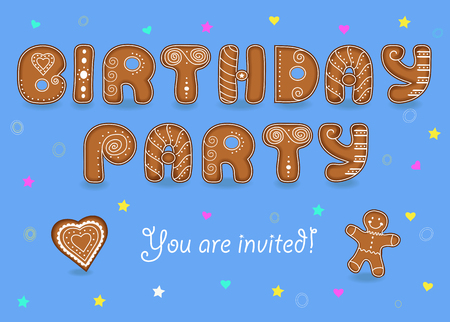 Birthday party invitation. Gingerbread font. Blue background with colorful stars and hearts. Signs as ginger cookies. Text You are invited. Cookies heart and gingerbread man. illustration