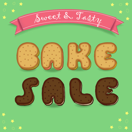 bake sale: Bake sale. Inscription by cookies font. Yellow and chocolate biscuits. Green background with yellow stars. Red with text Sweet and Tasty. illustration