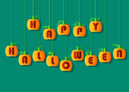 illuminator: Happy Halloween by pumpkin font. Orange geometric pumpkins with red signs.