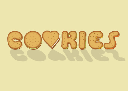 luncheon: Cookies. Sweet artistic font. Letter O is as a heart. illustration