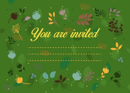 you are invited: General invitation. You are invited. Floral card. Green background with watercolor blurs and spray. Colorful graceful flowers frame. Place for custom text