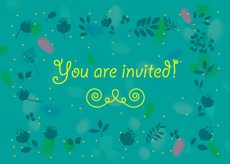 you are invited: General invitation. You are invited. Floral card. Blue background with watercolor blurs and spray. Blue flowers frame
