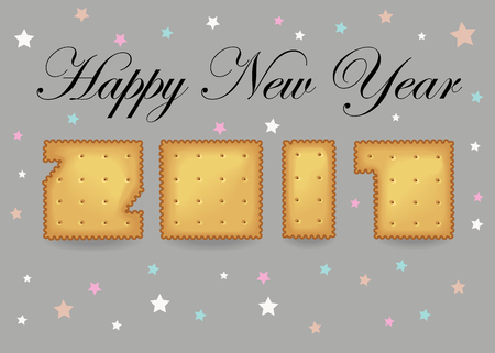 Happy New Year 2017. Calendar template. Hand drawn symbols. Crakers font. Celebration gray background with confetti stars. Greeting card. Vector illustration.