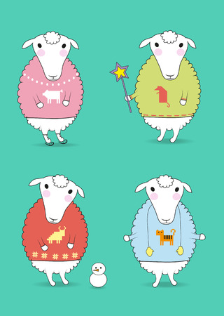 rad: Cartoon white sheeps with colorful pullovers and festive winter attributes - magic wand, skates, snowman, mittens. Patterns of chinese horoscope - pig, rat, tiger and caw. Vector illustration