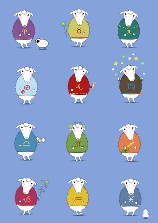 Set of Christmas sheeps. Funny horoscope. Colorful sweaters with pattern of Zodiac signs. Festive winter objects - cookies, candies, fir-tree, snowman, petard and others. Vector illustration