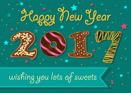 wishing card: Happy New Year 2017. Wishing you lots of sweets. Chocolate donuts font. Celebration background with confetti stars. Greeting card. Blue banner for custom text. Years specific. Vector illustration. Illustration
