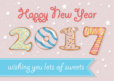 wishing card: Happy New Year 2017. Wishing you lots of sweets. Colorful donuts font. Celebration pink background with confetti stars. Greeting card. Blue banner for custom text. Years specific. Vector illustration. Illustration