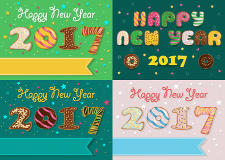 specific: Happy New Year 2017. Colorful Donuts artistic font. Banners for custom texts. Years specific