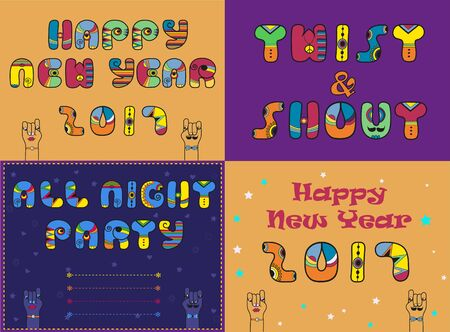 Cards with festive and party texts. Happy New Year 2017. Twist and Shout. All Night Party Invitation. Vintage style. Cartoon hands looking at each other. illustration
