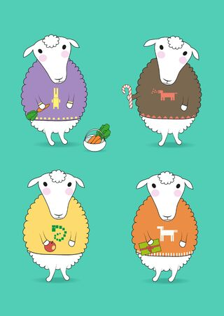 Cartoon white sheeps with colorful pullovers and new years attributes - carrot, candy, apple, gift. Patterns of chinese horoscope - rabbit, dragon, nake, horse. illustration Stock Photo