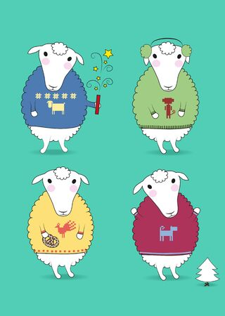 Cartoon white sheeps with colorful pullovers and new years attributes - petard, cookiy, fir-tree, earmuffs. Patterns of chinese horoscope - rooster, monkey, dog, sheep. illustration
