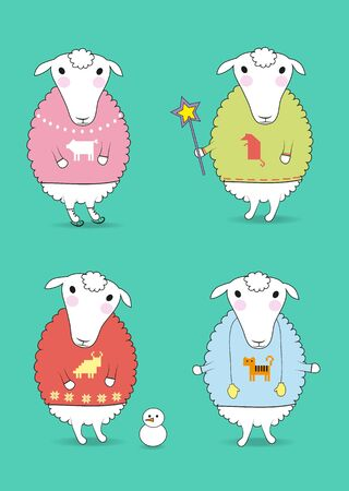 rad: Cartoon white sheeps with colorful pullovers and festive winter attributes - magic wand, skates, snowman, mittens. Patterns of chinese horoscope - pig, rat, tiger and caw. illustration