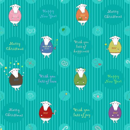 Seamless pattern with cartoon sheeps and festive objects. Colorful pullovers with text 2017. Text - Happy New Year, Merry Christmas, Wish you lots of love. Striped background. illustration