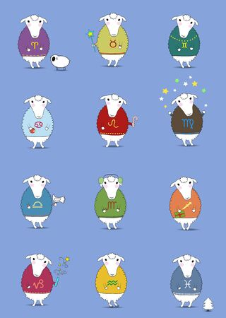 Set of Christmas sheeps. Funny horoscope. Colorful sweaters with pattern of Zodiac signs. Festive winter objects - cookies, candies, fir-tree, snowman, petard and others. illustration Stock Photo