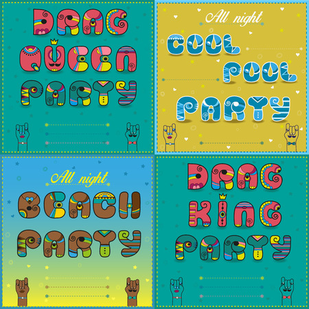 travesty: Invitations to party. Vintage artistic font. Drag Queen party. Drag king party. Beach party.Cool pool party. Cartoon hands looking at each other. Place for custom text. Vector Illustration