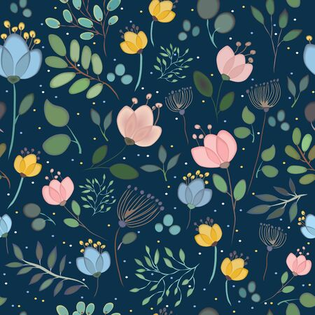 summerly: Summerly seamless pattern with watercolor flowers. Spring night. Summer night. Colorful flowers and plants with dark background.