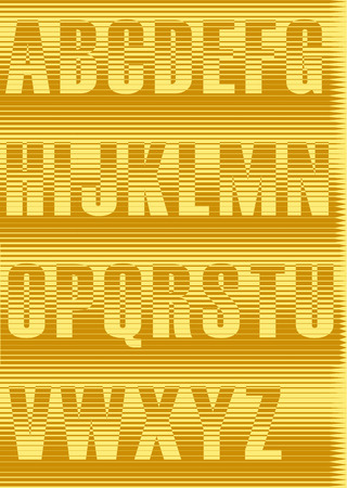 Striped Yellow Alphabet. Unusual font. Vintage style. Illustration. Stock Photo