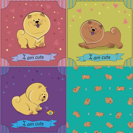 chow: Set of cartoon dogs Chow-chow. Colorful vintage cards with funny pets. Seamless pattern with brown dogs. Vector illustration. Banners for custom text. EPS 8