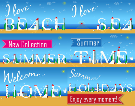 Travel cards. Artistic font. I love beach. I love sea. New collection. Summer time. Welcome home. Summer holidays. Enjoy every moment. White houses on the beach. Plane in the sky. Vector illustration Ilustração