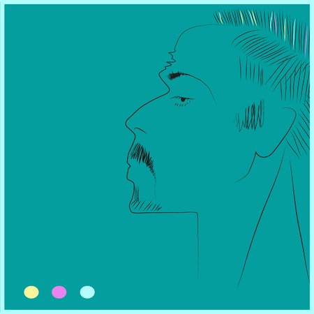 Portrait of man,with mustache. illustration. Stock Photo
