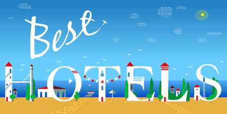 Inscription Best hotels. Cute white houses on the coast. P;ane in the sky. Summer beach. Illustration. Stock Photo