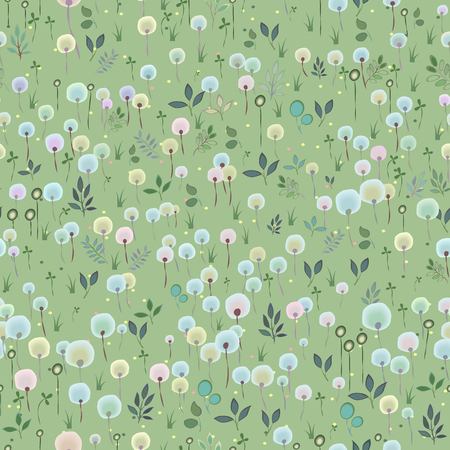hayfield: Blossoming Field. Watercolor flowers and plants with green background. Summer floral Seamless Pattern. Illustration. Stock Photo