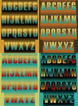 Striped artistic alphabets. Unusual fonts. Striped background. Vector illustration