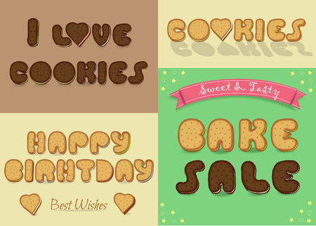 Inscriptions by sweet artistic font. I love cookies. BAke Sale. Happy Birthday. Letters are as chocolate and vanilla biscuits. Vector illustration