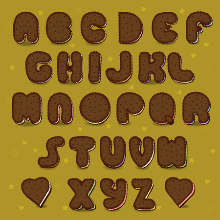 christmas cake: Sweet festive font. Chocolate Cookies with colorful filling. Illustration