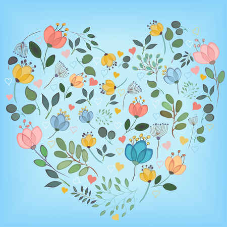 Colorful watercolor floral heart. Flowers and plants with watercolor effect. Colorful small hearts. Blue background. Vintage greeting card